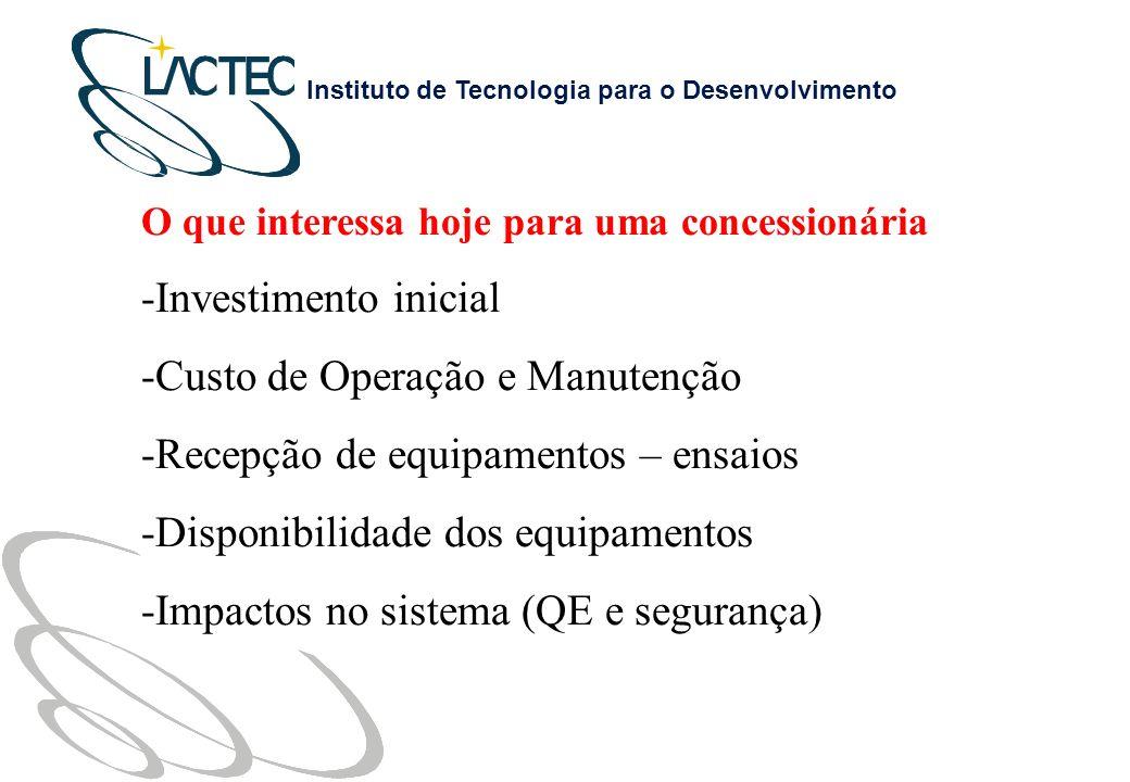 Custo de Operação e Manutenção Recepção de equipamentos – ensaios