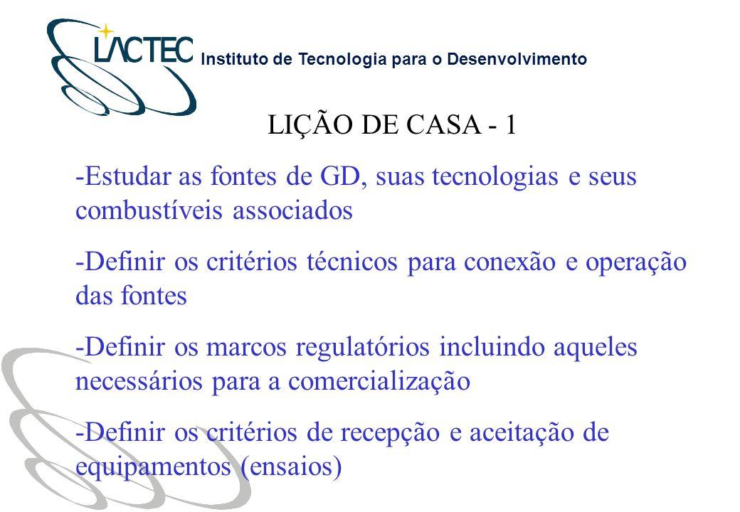 LIÇÃO DE CASA - 1 Estudar as fontes de GD, suas tecnologias e seus combustíveis associados.