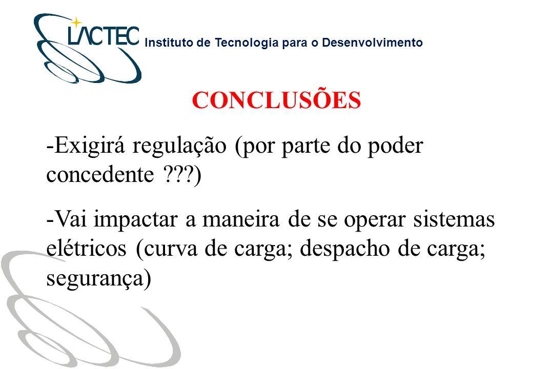CONCLUSÕES Exigirá regulação (por parte do poder concedente )
