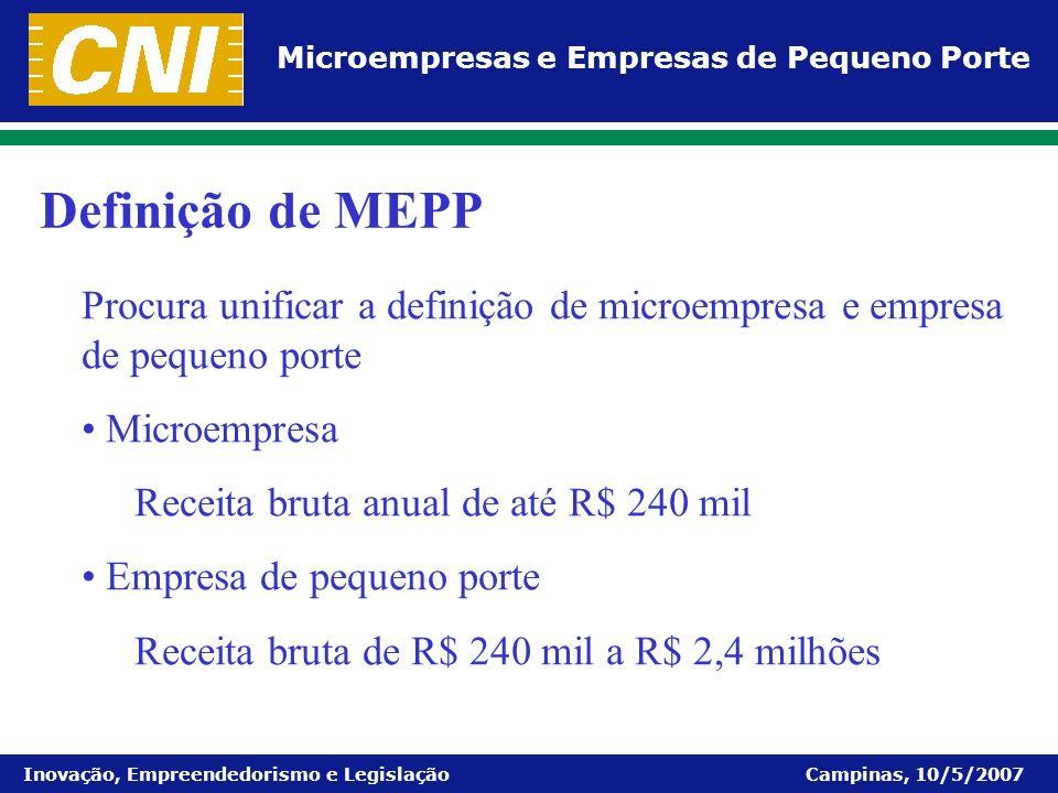 Definição de MEPP Procura unificar a definição de microempresa e empresa de pequeno porte. Microempresa.