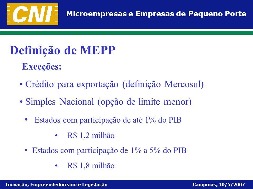 Definição de MEPP Exceções: