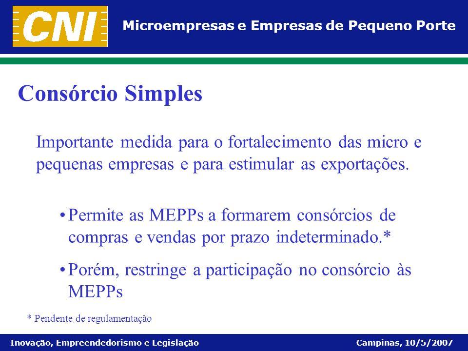 Consórcio Simples Importante medida para o fortalecimento das micro e pequenas empresas e para estimular as exportações.