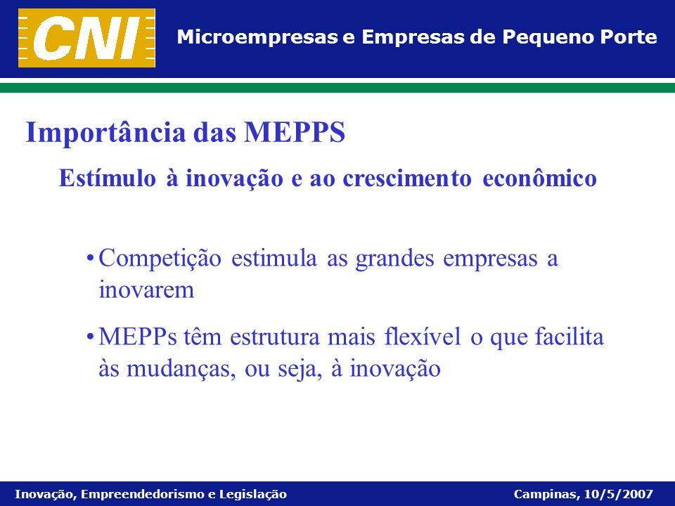 Importância das MEPPS Estímulo à inovação e ao crescimento econômico