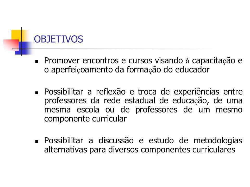 OBJETIVOS Promover encontros e cursos visando à capacitação e o aperfeiçoamento da formação do educador.