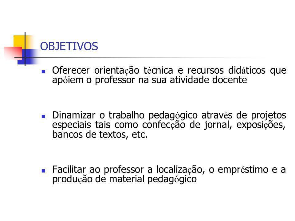 OBJETIVOS Oferecer orientação técnica e recursos didáticos que apóiem o professor na sua atividade docente.