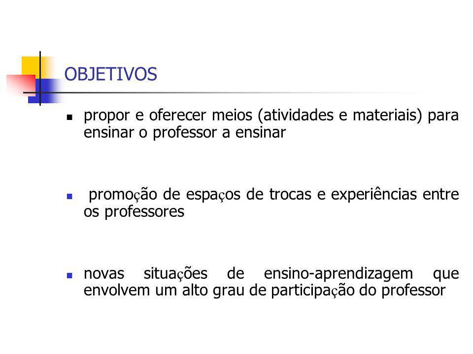 OBJETIVOS propor e oferecer meios (atividades e materiais) para ensinar o professor a ensinar.