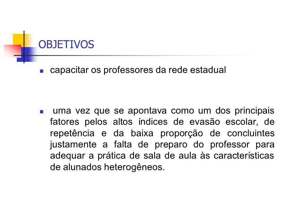OBJETIVOS capacitar os professores da rede estadual