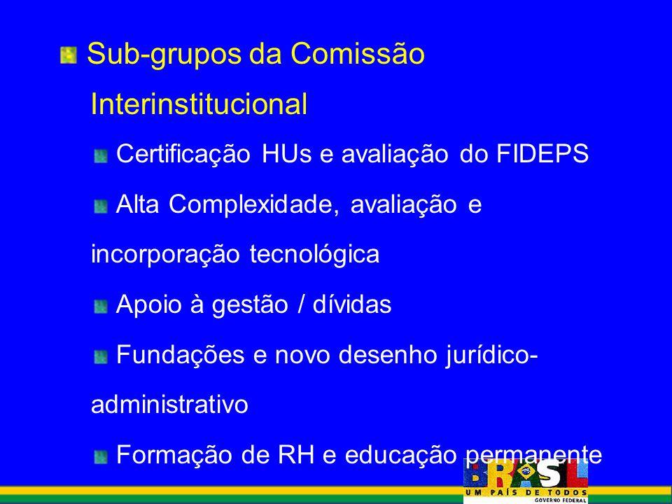 Sub-grupos da Comissão Interinstitucional