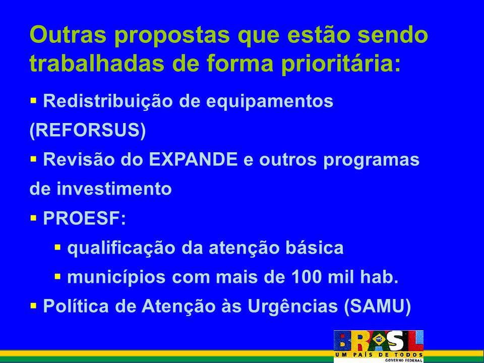 Outras propostas que estão sendo trabalhadas de forma prioritária: