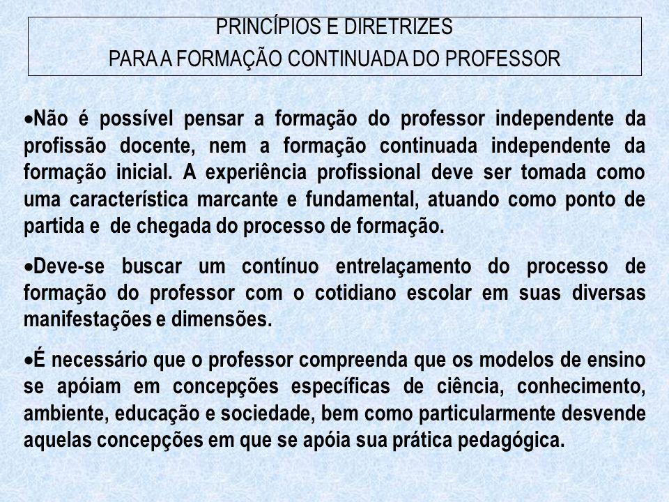 PRINCÍPIOS E DIRETRIZES PARA A FORMAÇÃO CONTINUADA DO PROFESSOR