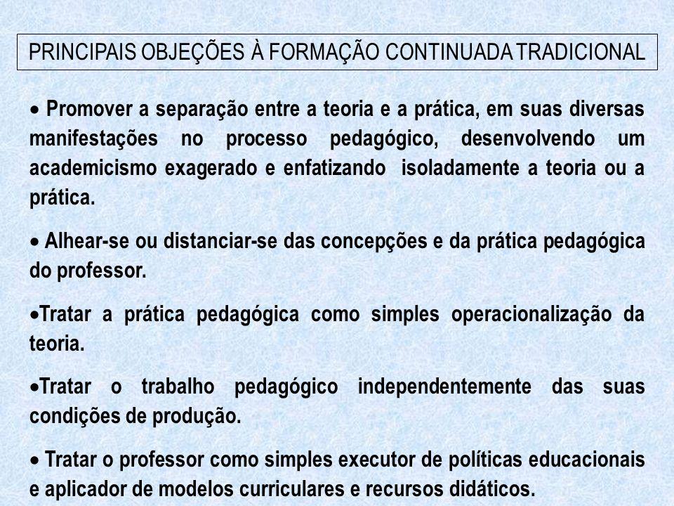 PRINCIPAIS OBJEÇÕES À FORMAÇÃO CONTINUADA TRADICIONAL