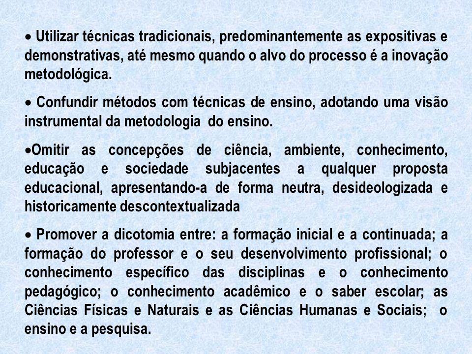 · Utilizar técnicas tradicionais, predominantemente as expositivas e demonstrativas, até mesmo quando o alvo do processo é a inovação metodológica.