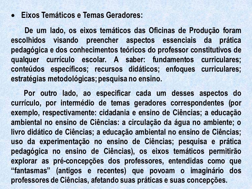 · Eixos Temáticos e Temas Geradores: