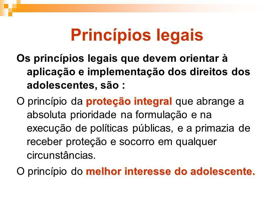 Princípios legaisOs princípios legais que devem orientar à aplicação e implementação dos direitos dos adolescentes, são :