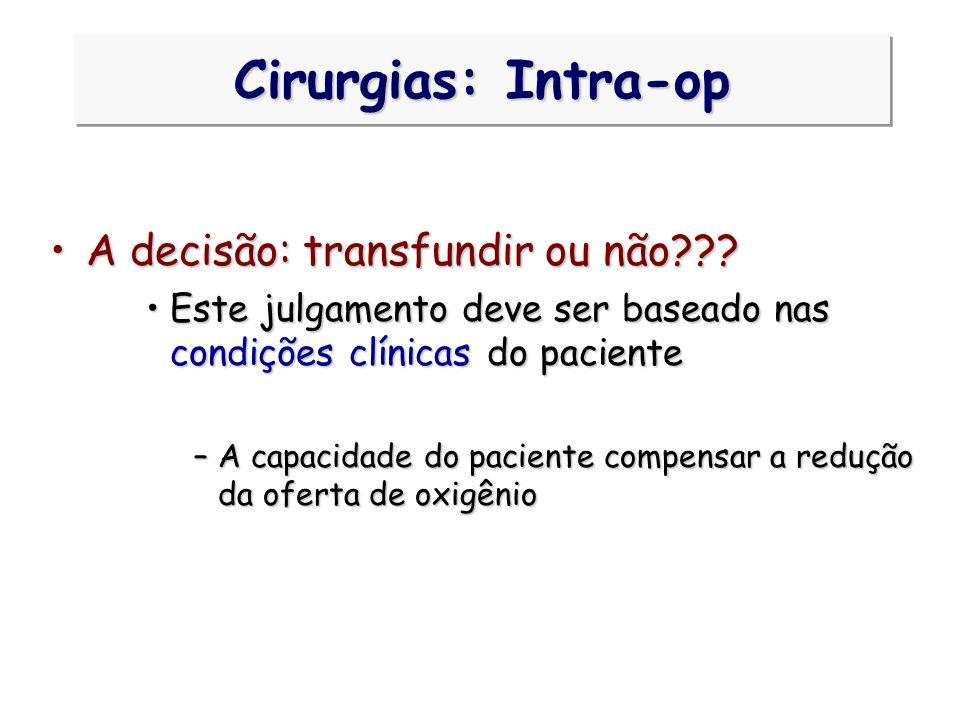 Cirurgias: Intra-op A decisão: transfundir ou não