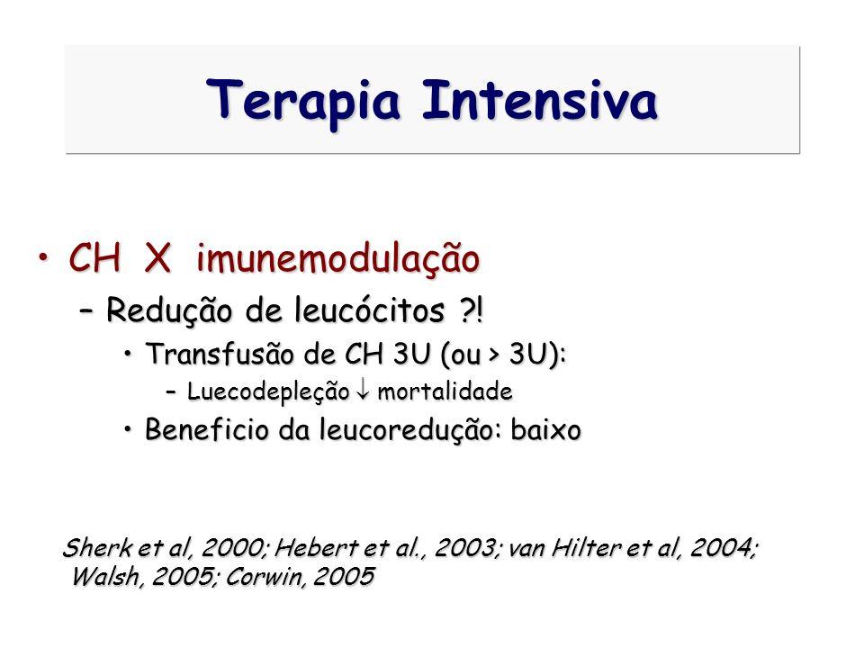Terapia Intensiva CH X imunemodulação Redução de leucócitos !