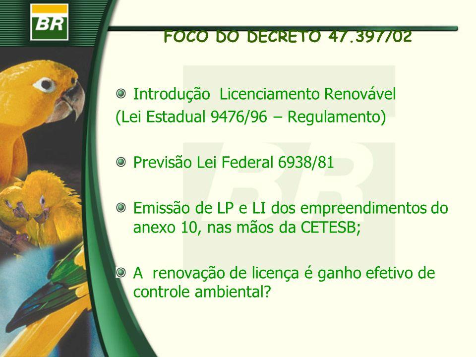 FOCO DO DECRETO 47.397/02Introdução Licenciamento Renovável. (Lei Estadual 9476/96 – Regulamento) Previsão Lei Federal 6938/81.