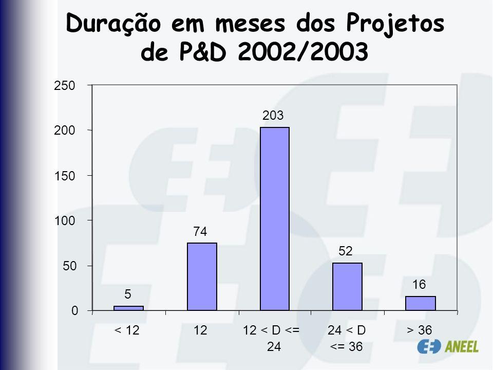 Duração em meses dos Projetos de P&D 2002/2003