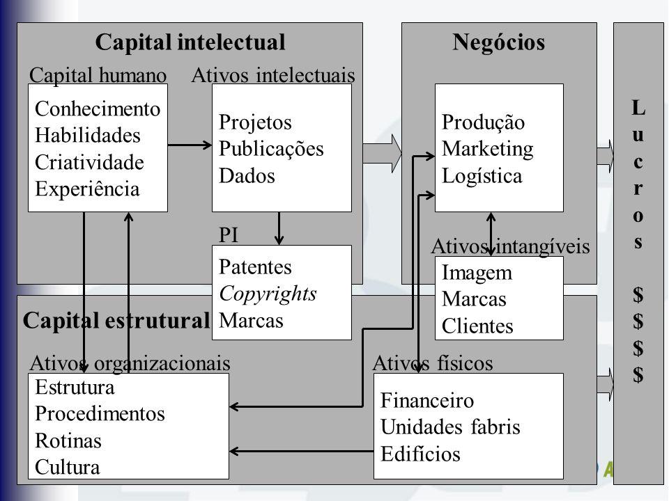 Capital intelectual Negócios Capital estrutural L u c r o s $ $ $ $