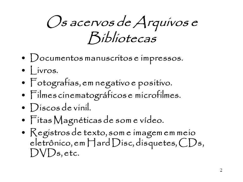 Os acervos de Arquivos e Bibliotecas