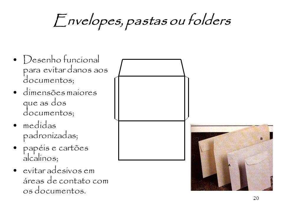Envelopes, pastas ou folders