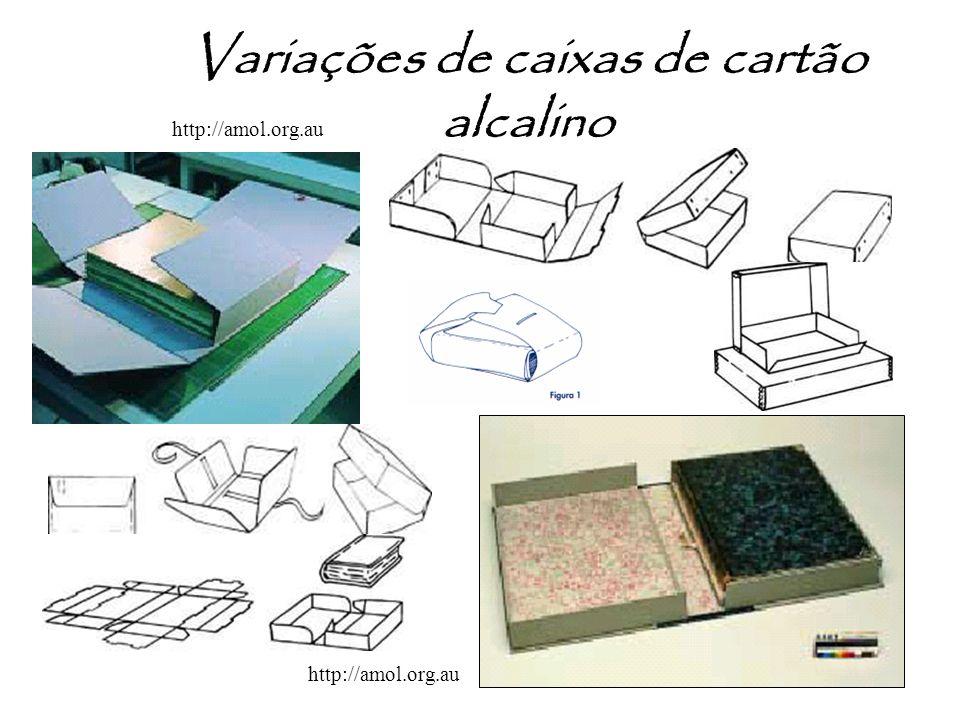 Variações de caixas de cartão alcalino