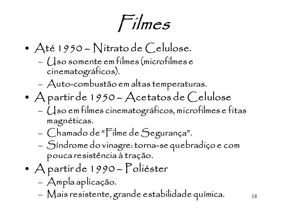 Filmes Até 1950 – Nitrato de Celulose.