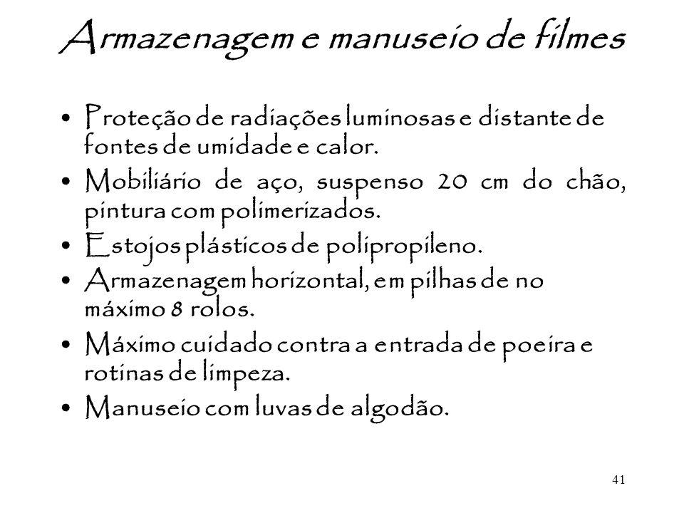 Armazenagem e manuseio de filmes