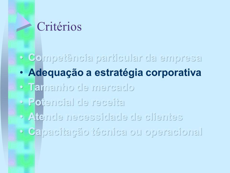 Critérios Competência particular da empresa