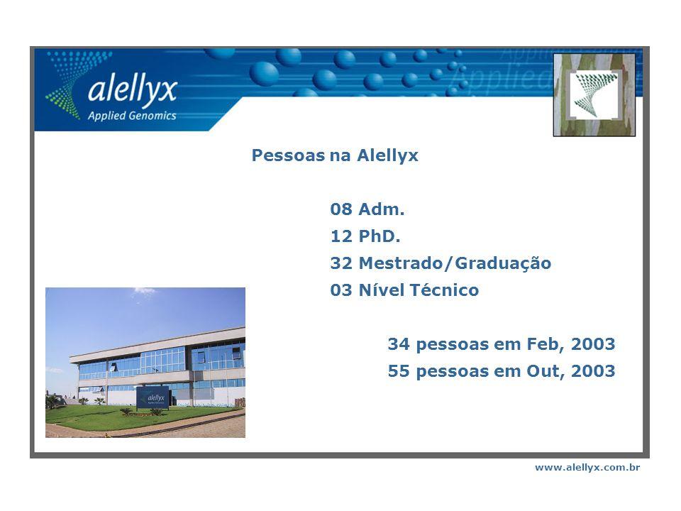 Pessoas na Alellyx 08 Adm. 12 PhD. 32 Mestrado/Graduação