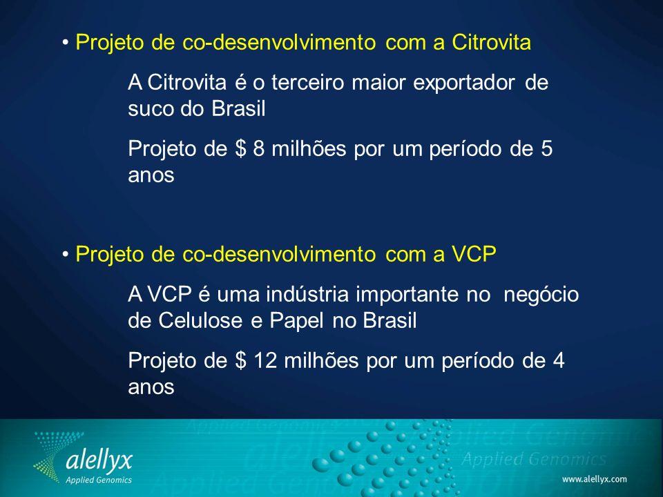 • Projeto de co-desenvolvimento com a Citrovita