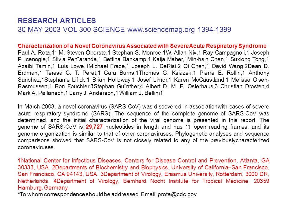 30 MAY 2003 VOL 300 SCIENCE www.sciencemag.org 1394-1399