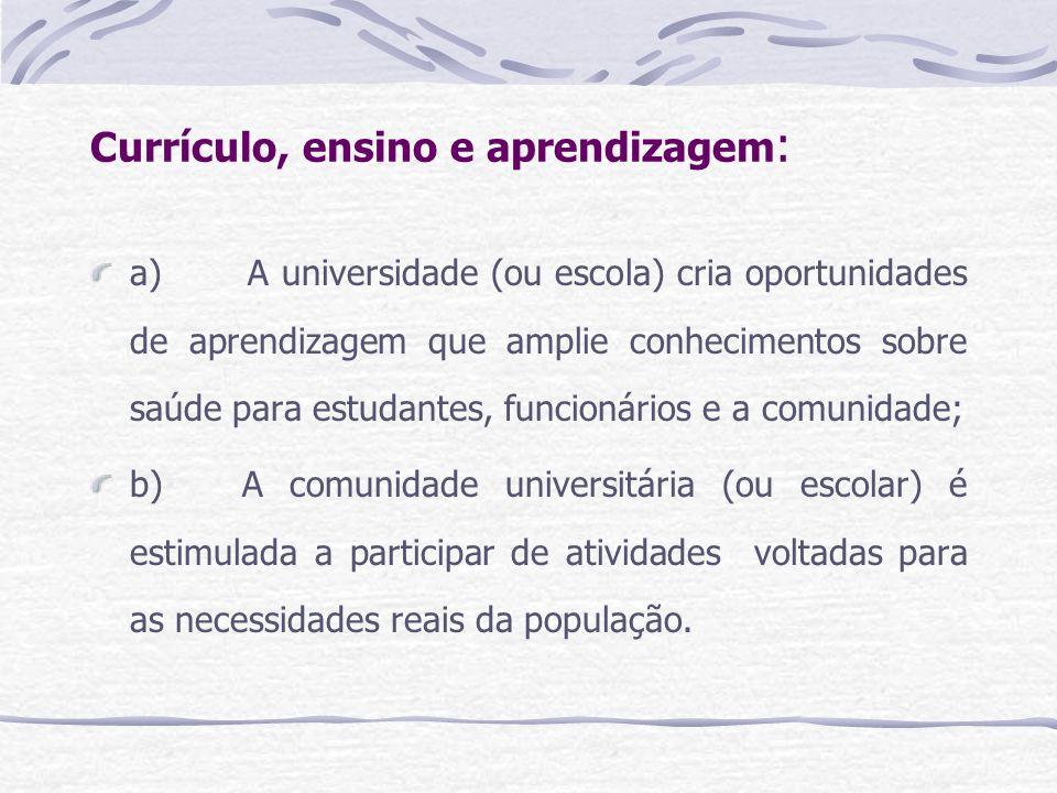 Currículo, ensino e aprendizagem: