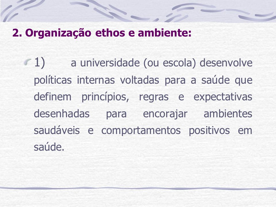 2. Organização ethos e ambiente: