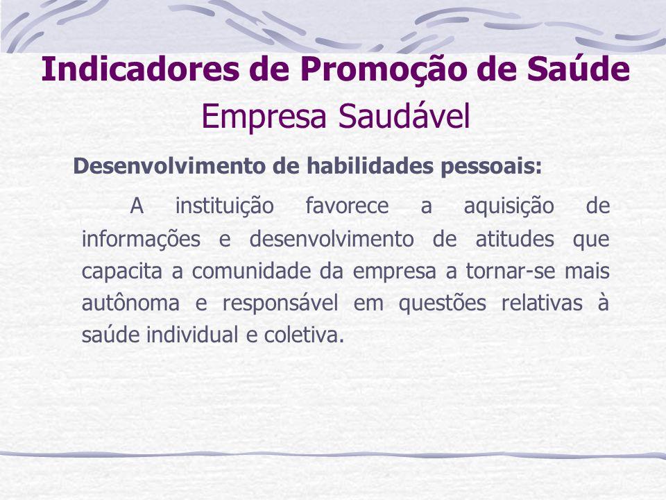 Indicadores de Promoção de Saúde Empresa Saudável