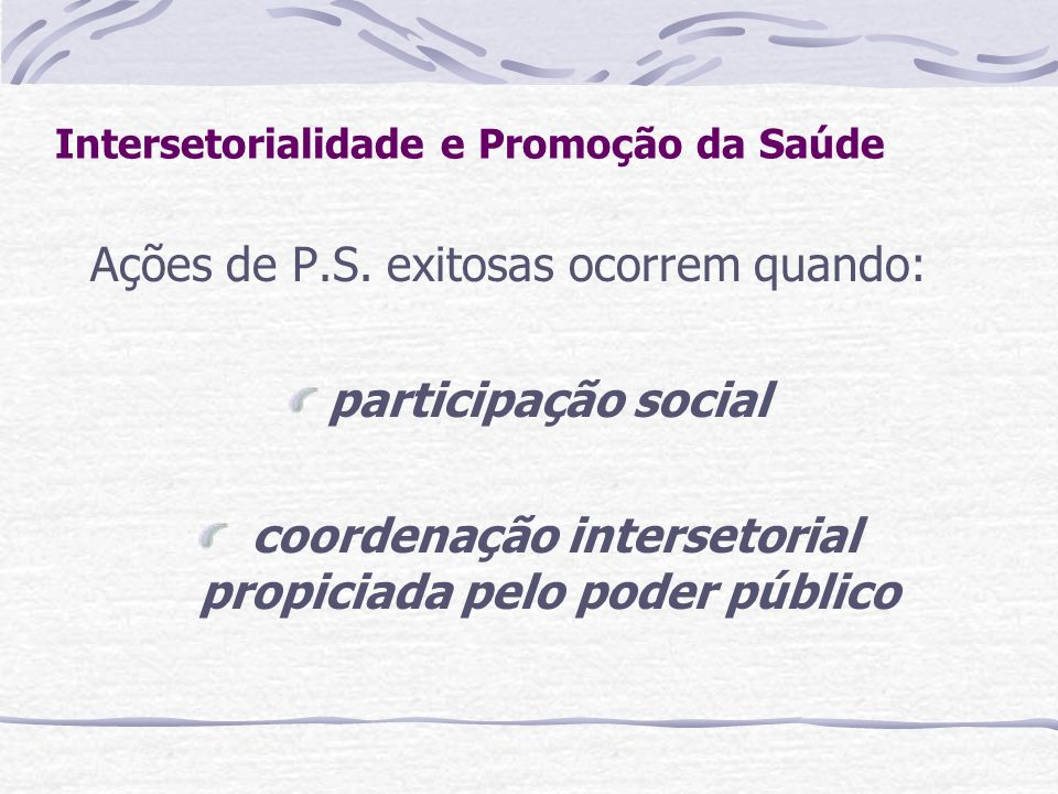 Intersetorialidade e Promoção da Saúde