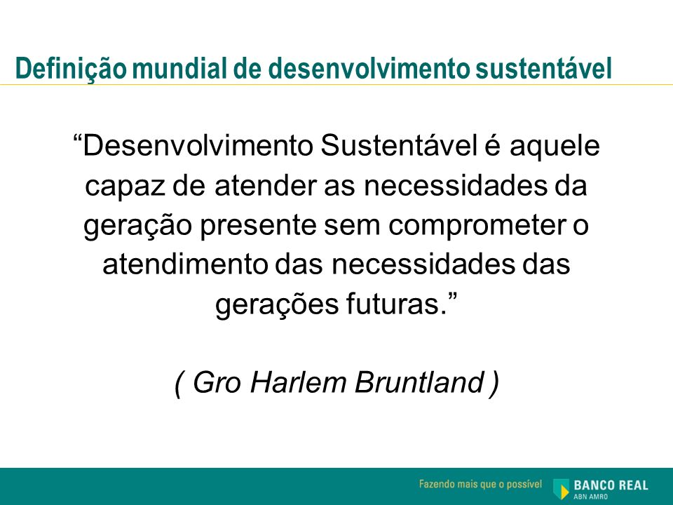 Definição mundial de desenvolvimento sustentável