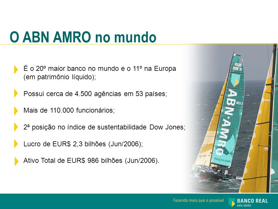 O ABN AMRO no mundo É o 20º maior banco no mundo e o 11º na Europa (em patrimônio líquido); Possui cerca de 4.500 agências em 53 países;
