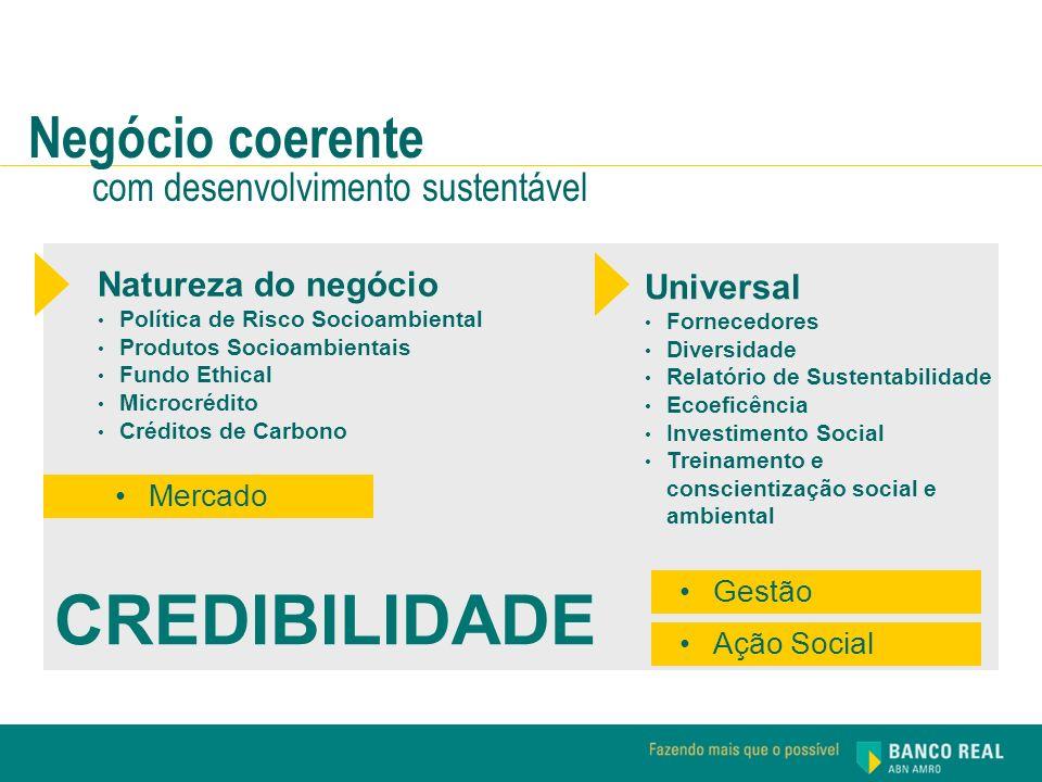 CREDIBILIDADE Negócio coerente com desenvolvimento sustentável