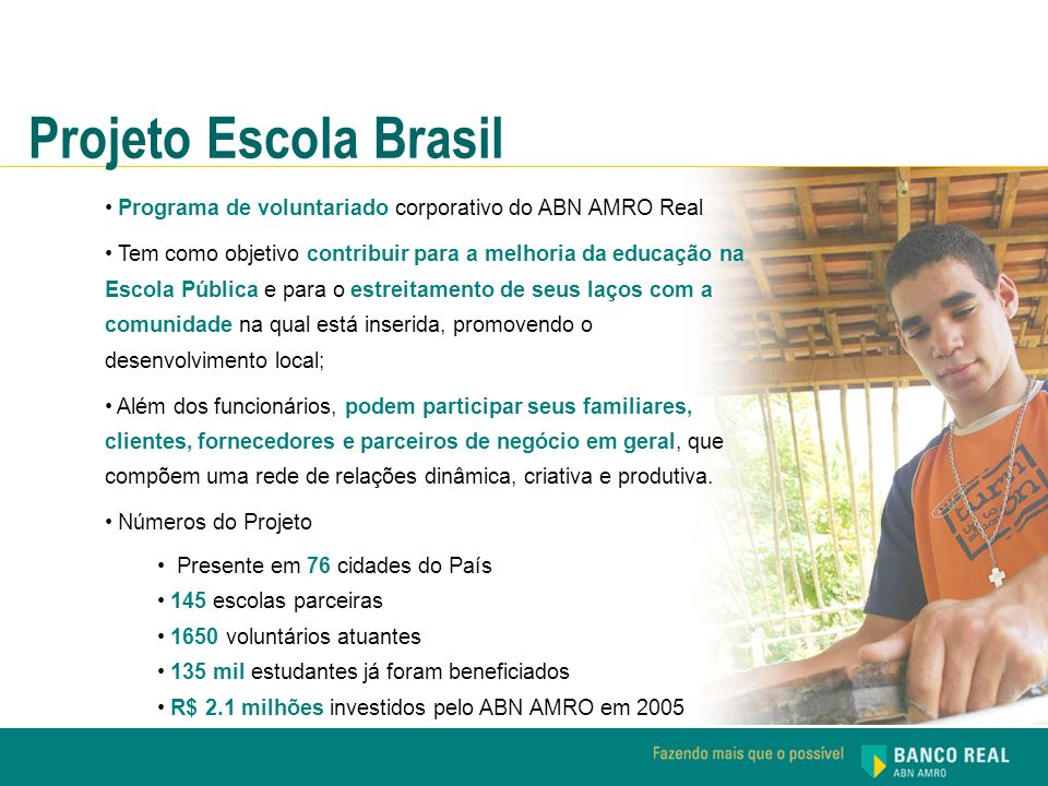 Projeto Escola Brasil Programa de voluntariado corporativo do ABN AMRO Real.