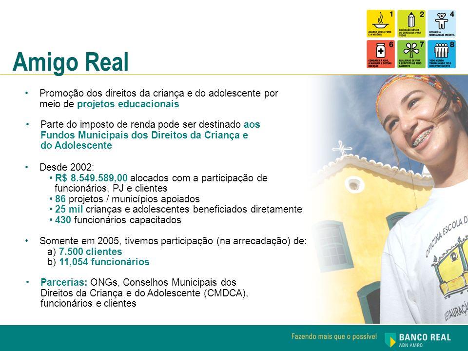 Amigo Real Promoção dos direitos da criança e do adolescente por meio de projetos educacionais.