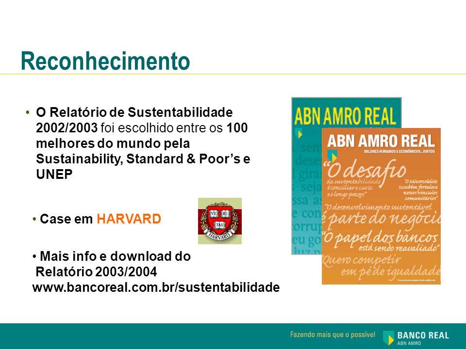 Reconhecimento O Relatório de Sustentabilidade 2002/2003 foi escolhido entre os 100 melhores do mundo pela Sustainability, Standard & Poor's e UNEP.