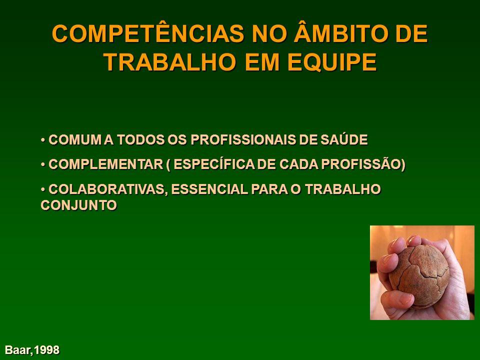 COMPETÊNCIAS NO ÂMBITO DE TRABALHO EM EQUIPE