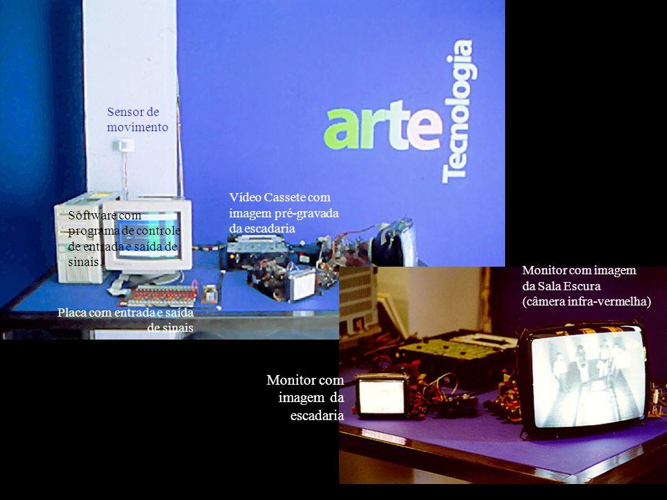Monitor com imagem da escadaria
