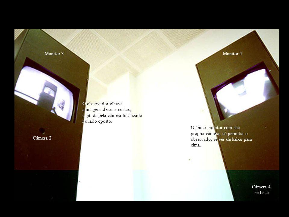 Monitor 3 Monitor 4. O observador olhava. a imagem de suas costas, captada pela câmera localizada.