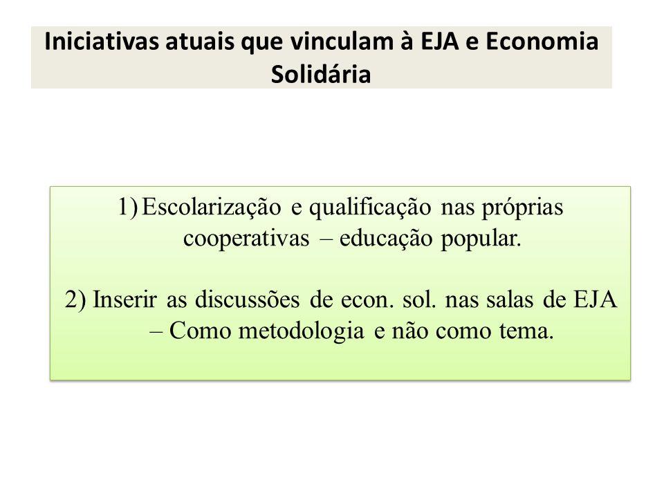 Iniciativas atuais que vinculam à EJA e Economia Solidária