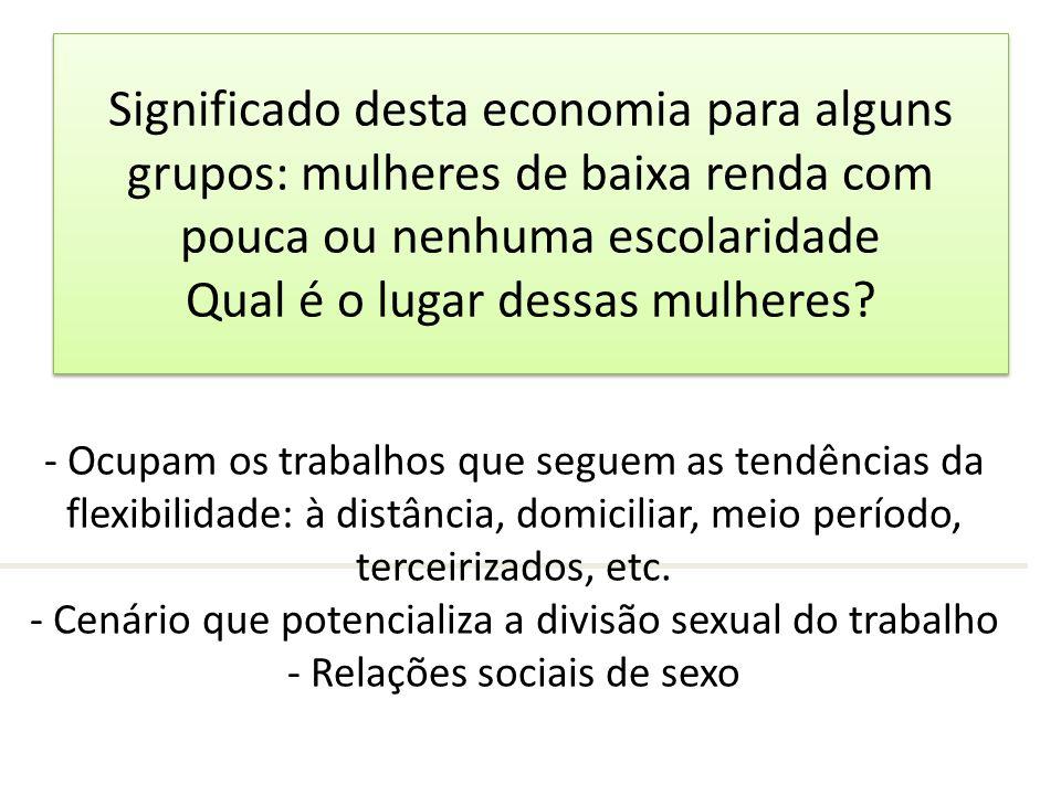 Significado desta economia para alguns grupos: mulheres de baixa renda com pouca ou nenhuma escolaridade Qual é o lugar dessas mulheres