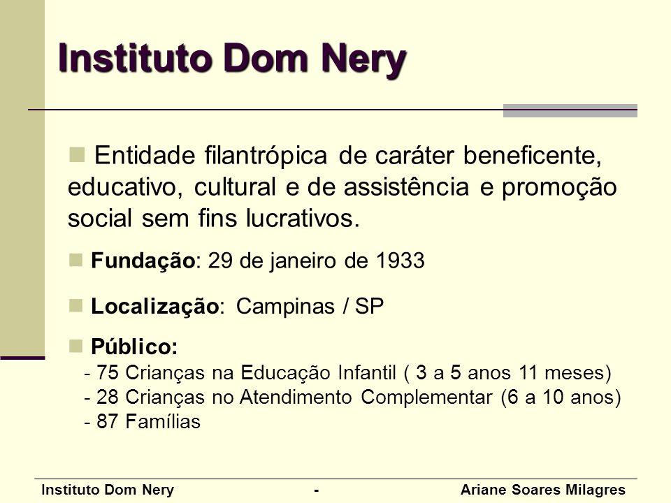Instituto Dom Nery Entidade filantrópica de caráter beneficente, educativo, cultural e de assistência e promoção social sem fins lucrativos.