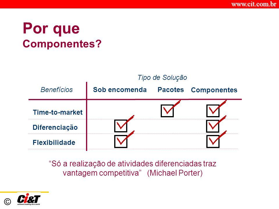 Por que Componentes Benefícios. Sob encomenda. Pacotes. Componentes. Tipo de Solução. Time-to-market.