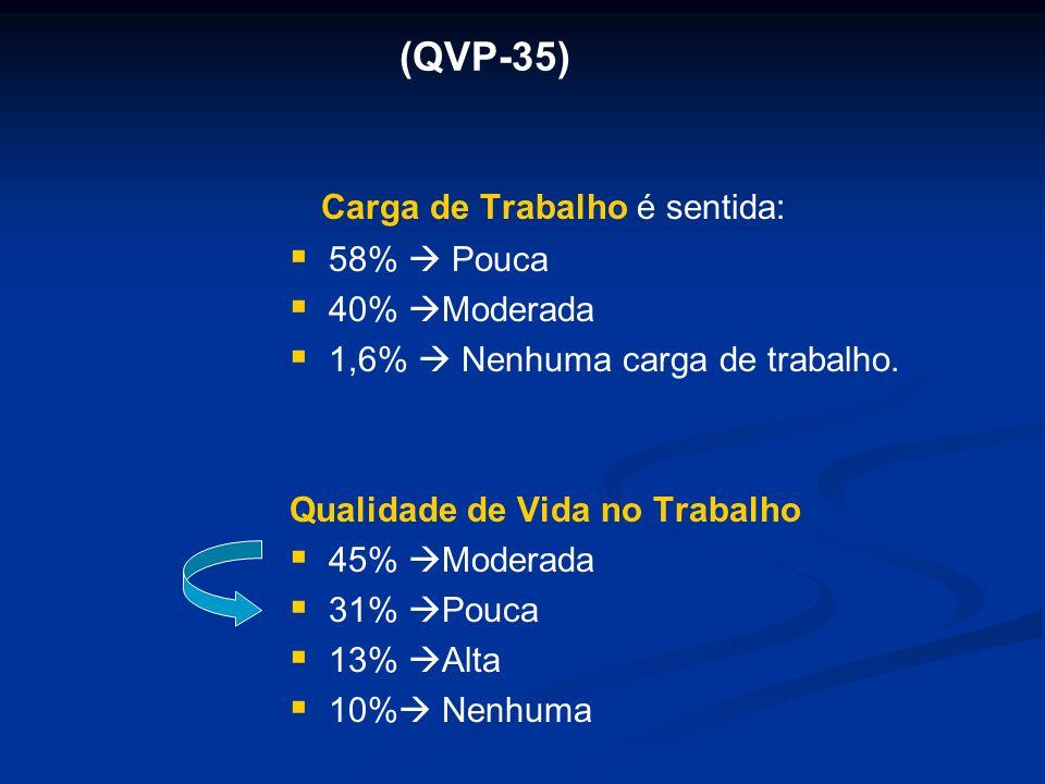 (QVP-35) Carga de Trabalho é sentida: 58%  Pouca 40% Moderada